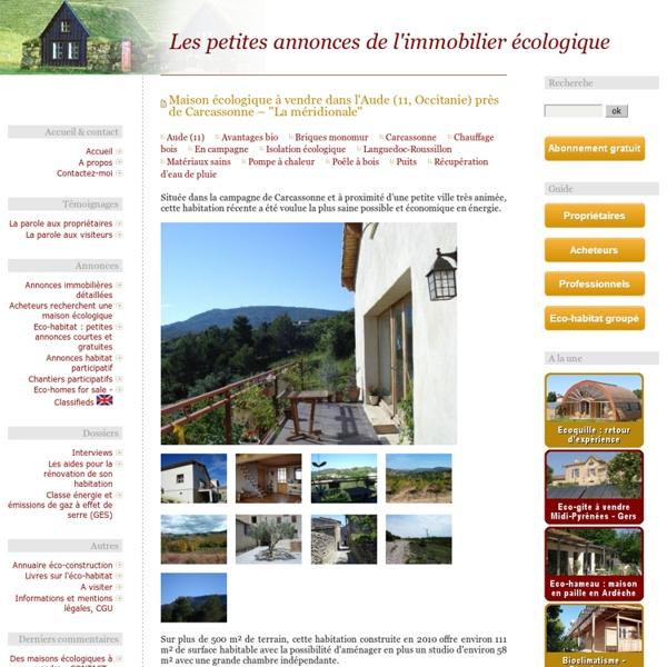 Les petites annonces de l'immobilier écologique