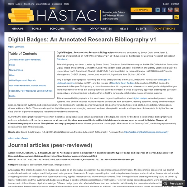 Digital Badges: An Annotated Research Bibliography v1