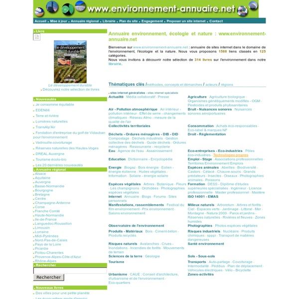 Annuaire environnement : les sites internet sur l'environnement, l'écologie et la nature.