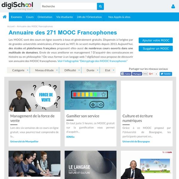 Annuaire des 202 MOOC francophones - Cours en ligne en français