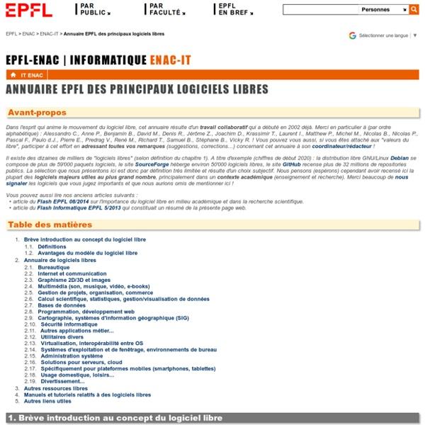 Annuaire EPFL des principaux logiciels libres