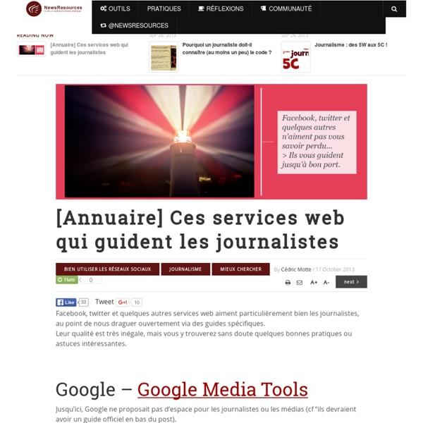 [Annuaire] Ces services web qui guident les journalistes