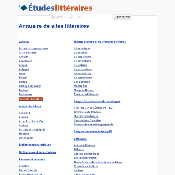 Annuaire de sites littéraires