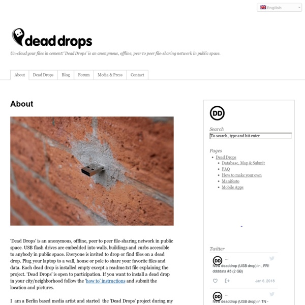Un-cloud your files in cement! 'Dead Drops' is an anonymous, offline, peer to peer file-sharing network in public space.