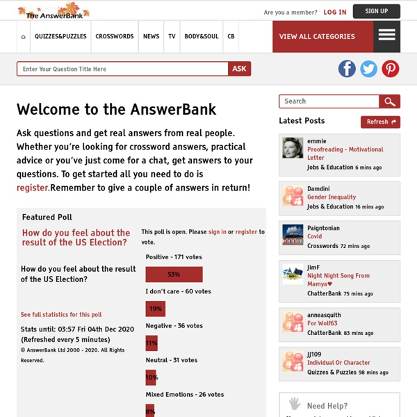 The AnswerBank - post questions and answers, and discuss topics of interest.