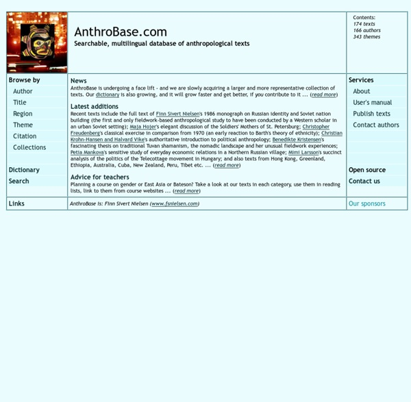 AnthroBase - Social and Cultural Anthropology - A searchable database of anthropological texts