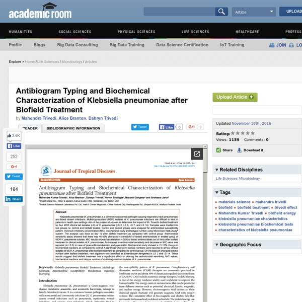 Characteristics of Klebsiella Pneumoniae: Impact of Biofield