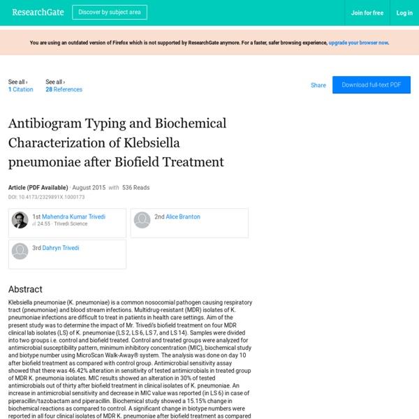 A Research on Characteristics of Klebsiella Pneumoniae