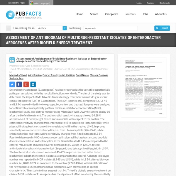 Examination of Enterobacter aerogenes after Biofield Energy Treatment