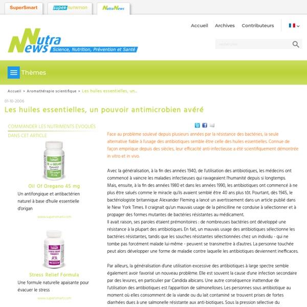 Les huiles essentielles, un pouvoir antimicrobien avéré - Aromathérapie scientifique