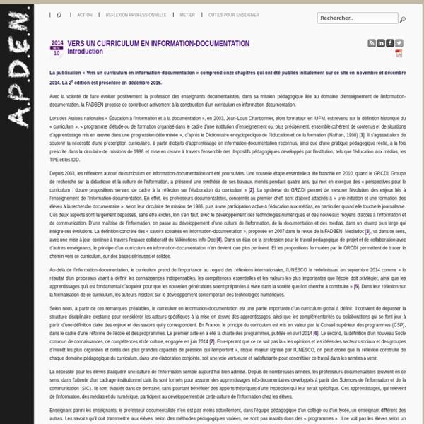 APDEN : VERS UN CURRICULUM EN INFORMATION-DOCUMENTATION