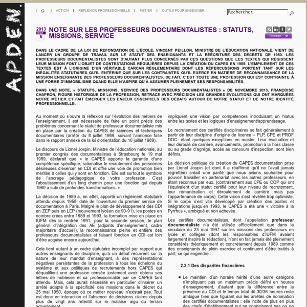 Professeurs documentalistes : statuts, missions, service