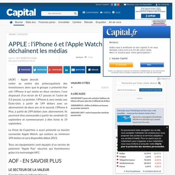 APPLE : l'iPhone 6 et l'Apple Watch déchaînent les médias