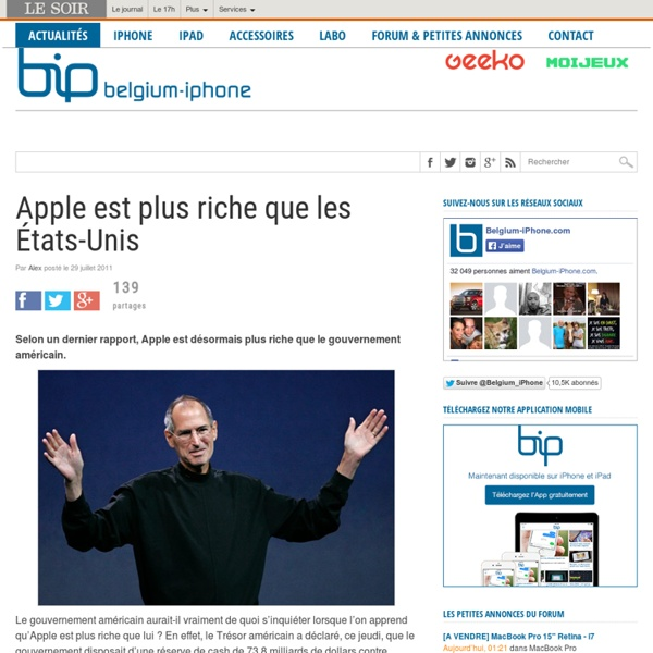 Apple est plus riche que les États-Unis