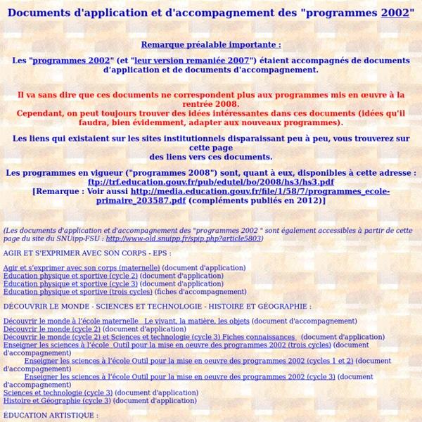 Documents d'application et d'accompagnement des programmes 2002