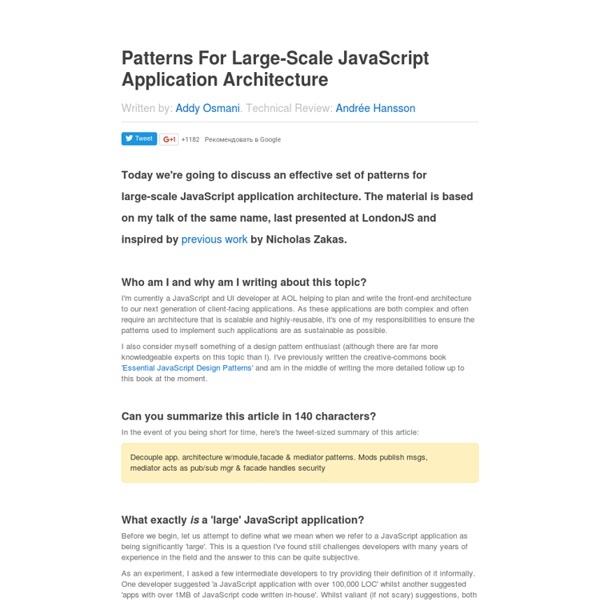 Patterns For Large-Scale JavaScript Application Architecture