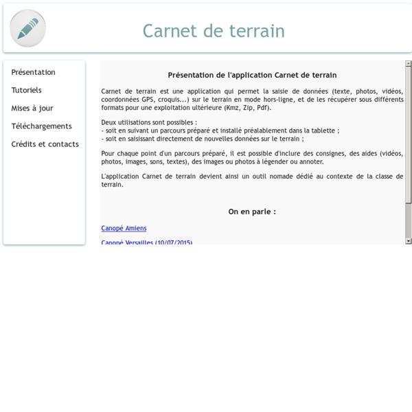 Application Carnet de terrain