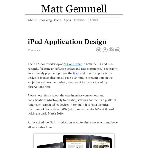 iPad Application Design