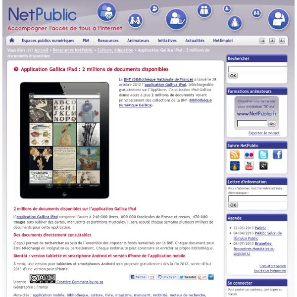 Application Gallica iPad : 2 millions de documents disponibles
