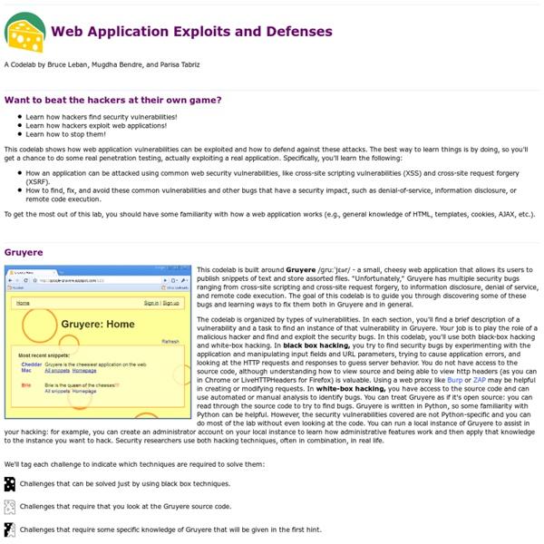 Web Application Exploits and Defenses