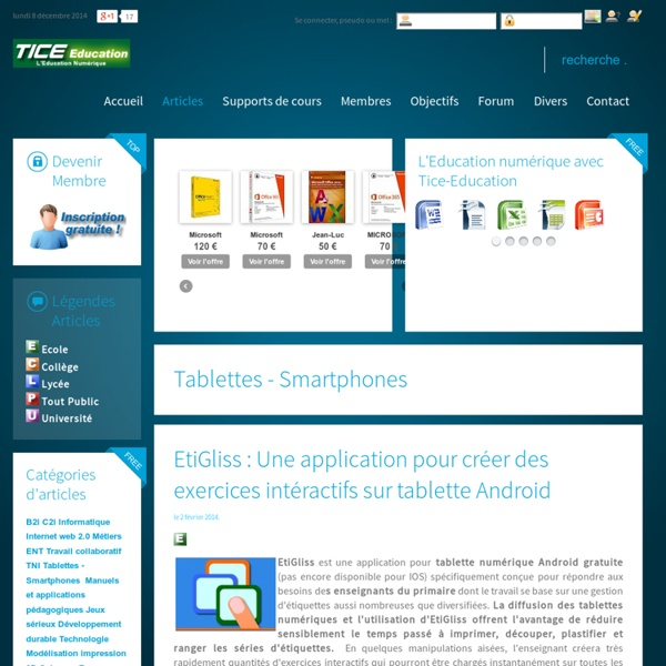 EtiGliss : Une application pour créer des exercices intéractifs sur tablette Android