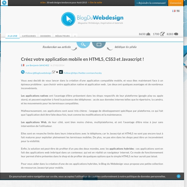 Créez votre application mobile en HTML5, CSS3 et Javascript