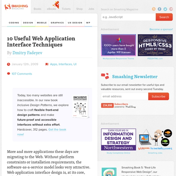 10 Useful Web Application Interface Techniques
