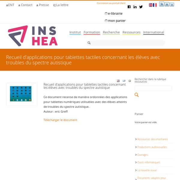 Recueil d'applications pour tablettes tactiles concernant les élèves avec troubles du spectre autistique