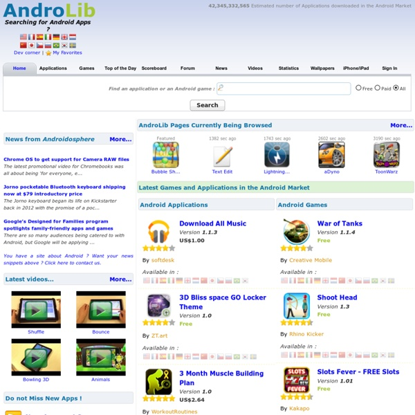 AndroLib, Find all the applications and games available in the Android Market for your Android Phone, Droid, Galaxy S etc...