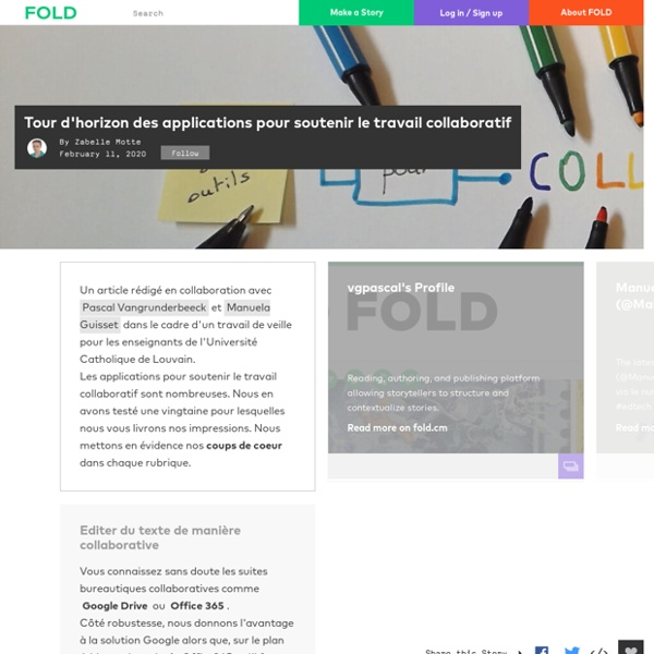 Tour d'horizon des applications pour soutenir le travail collaboratif - FOLD