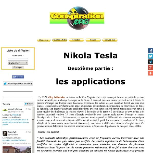 Nikola Tesla, les applications