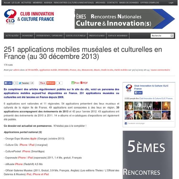 286 applications mobiles muséales, patrimoniales et culturelles en France (au 21 septembre 2014)