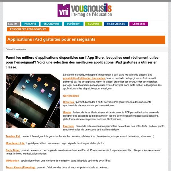 Applications iPad gratuites pour enseignants