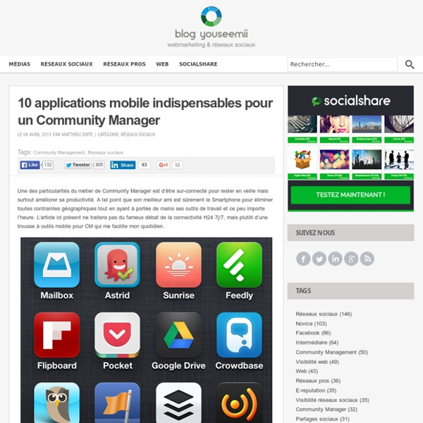 10 applications mobile indispensables pour un Community Manager l YouSeeMii blog
