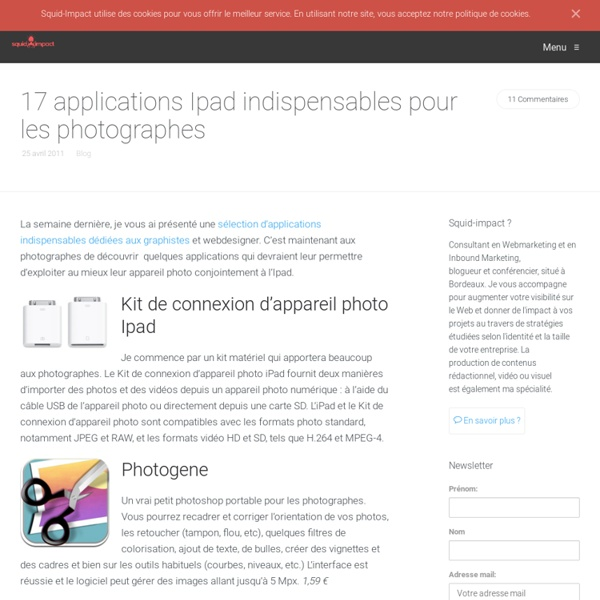 17 applications Ipad indispensables pour les photographes