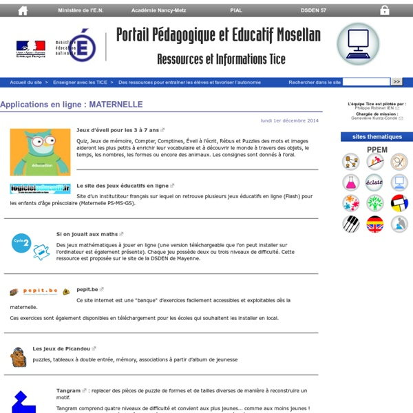 Applications en ligne : MATERNELLE - Ressources et informations TICE