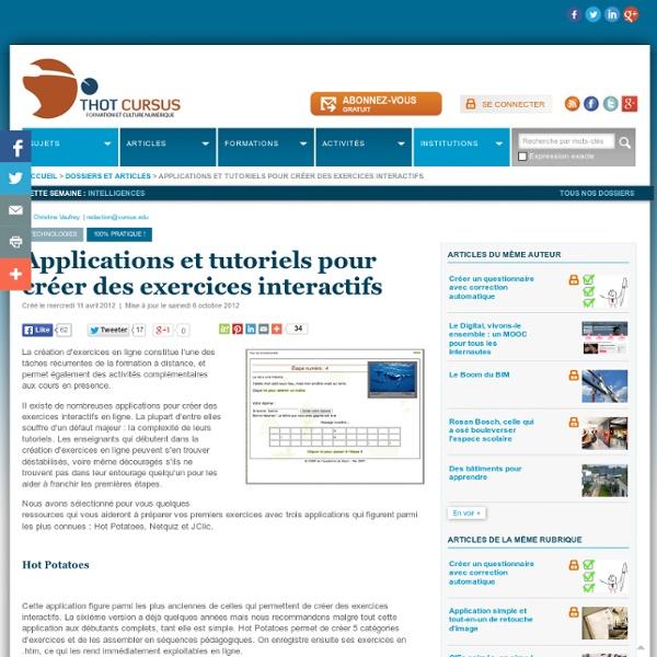 Applications et tutoriels recensés par THOT
