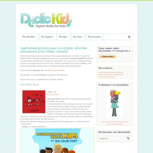 Applications gratuites pour les enfants : Declickids