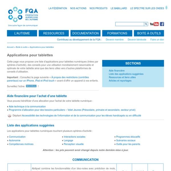 FQA : Applications pour tablettes