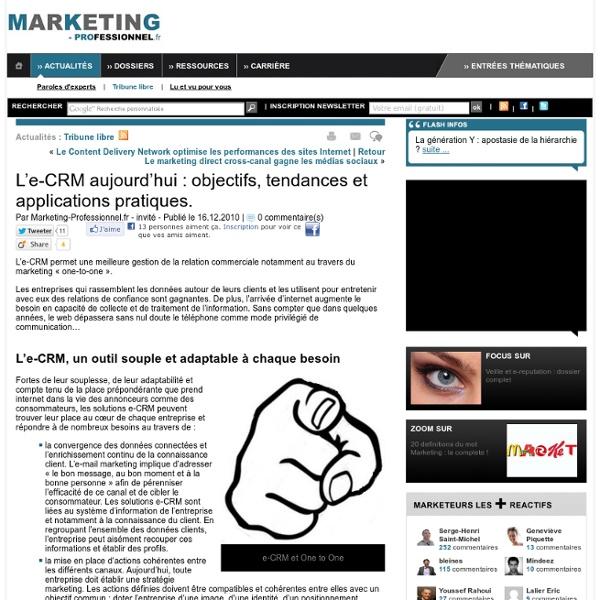 L'e-CRM aujourd'hui : objectifs, tendances et applications pratiques.
