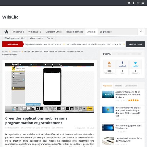 Créer des applications mobiles sans programmation et gratuitement