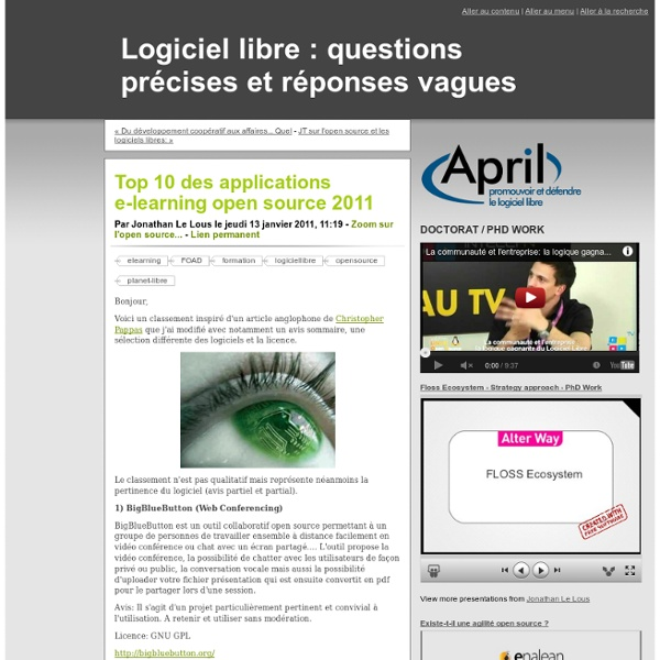 Top 10 des applications e-learning open source 2011