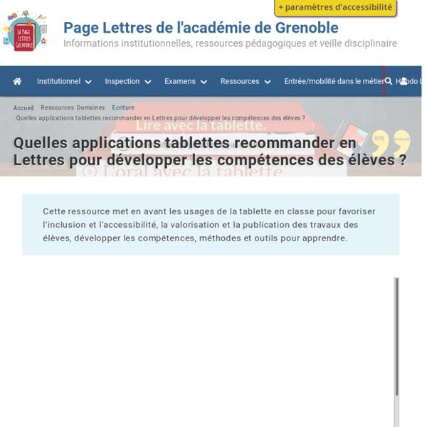 Quelles applications Tablettes IOS/ Android recommander en Lettres pour développer les compétences des élèves ?