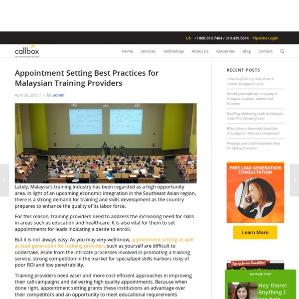Appointment Setting Best Practices for Malaysian Training Providers - B2B Lead Generation Company Malaysia