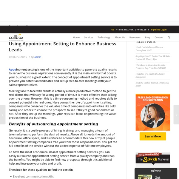 Using Appointment Setting to Enhance Business Leads