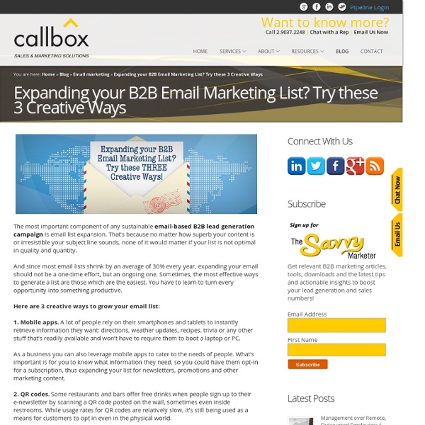 Expanding your B2B Email Marketing List? Try these 3 Creative WaysB2B Lead Generation, Appointment Setting, Telemarketing