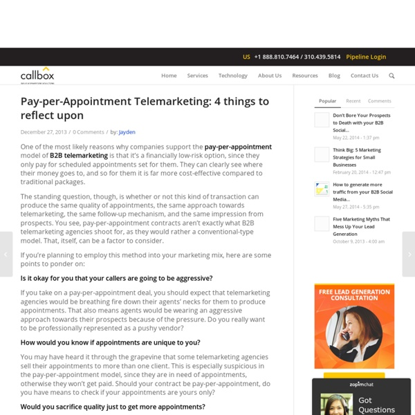 Pay-per-Appointment Telemarketing: 4 things to reflect upon