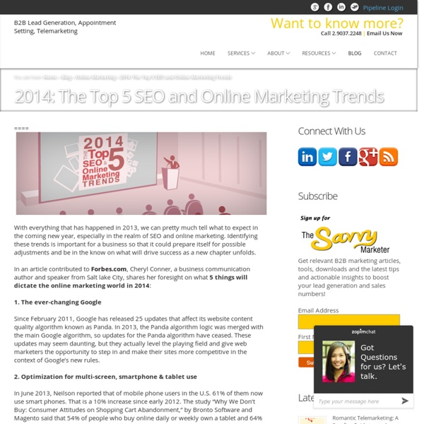 2014: The Top 5 SEO and Online Marketing TrendsB2B Lead Generation, Appointment Setting, Telemarketing