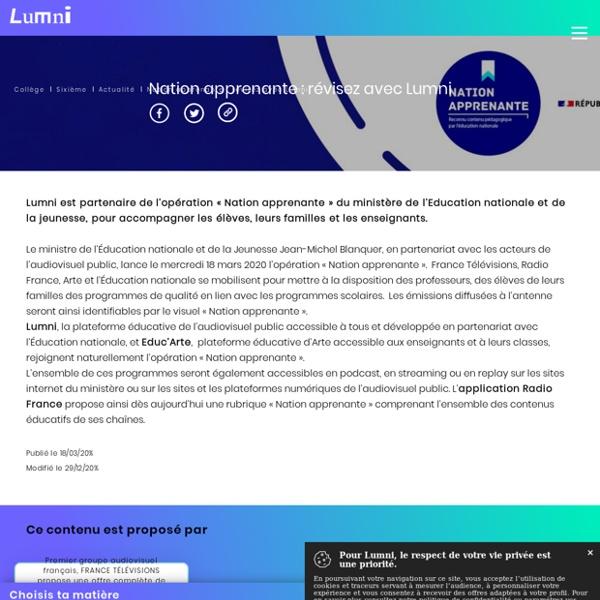 Nation apprenante : Révisez avec Lumni - Actualité