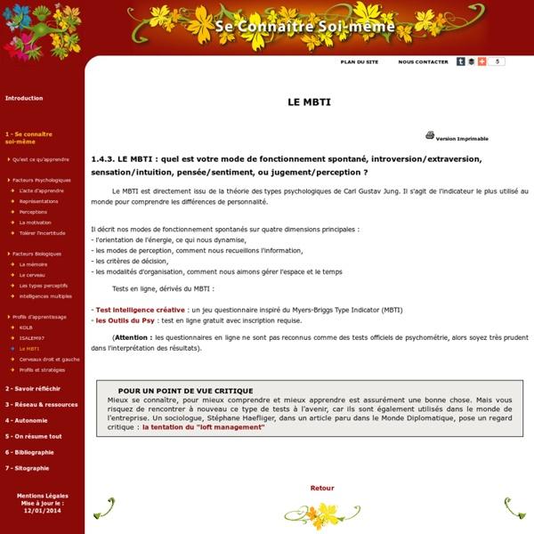 Profils d'apprentissage / Le MBTI